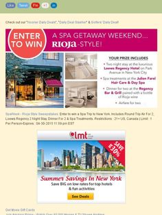 Win a Spa Trip to New York. Includes Round Trip Air For 2, a 2 Night Stay, Dinner For 2 & Spa Treatments!