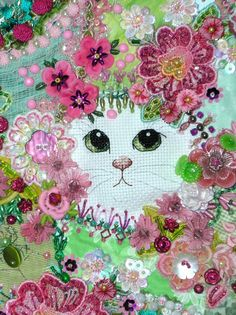 I ❤ crazy quilting & ribbon embroidery . . . Crazy Quilt Gatherings Magazine Cover for Pam! A wonderful closeup of the sweet kitties face. ~By Kitty and Me Designs