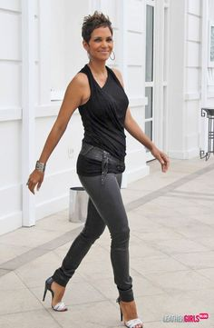 black pants, belt, loose sleeveless top