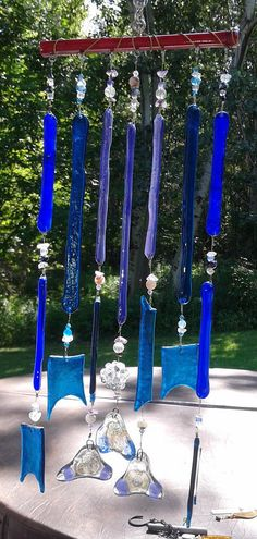 Oh So Blue Crystal Glass Windchimes Fused by GaiasSacredCreations