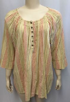 Avenue 22/24 2X Top Tunic Womens Plus Golden Yellow Striped Metallic 3/4 Sleeve #Avenue #Tunic #Casual
