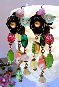 Green Pink Vintage Earrings Green Chandelier by Sweetystuff