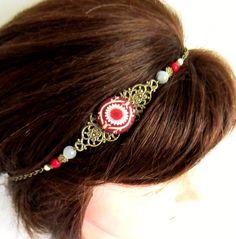 Headband rétro, bohème chic, bordeaux, bronze, bijou de tête, collier, cabochon en tissu, turquoise blanc, howlite, verre : Accessoires coiffure par color-life-bijoux