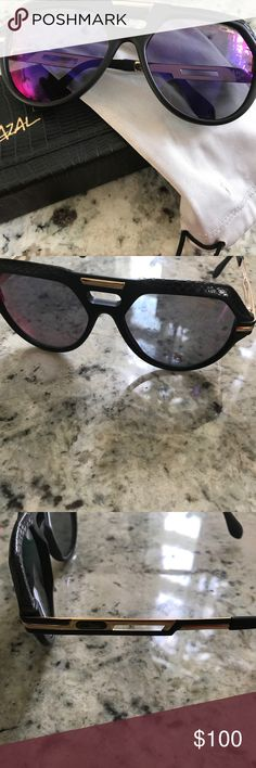 022c682ce2 2017 Cazal Sunglasses Black snake skin with gold trim Cazal Legends 657  sunglasses gently used. Comes with original satin bag and case.