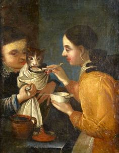 School of Northern Italy's eighteenth century Medieval Paintings, Old Paintings, Beautiful Paintings, Drawing Heads, Art Drawings, Cute Cats And Dogs, Cool Cats, Historical Art, Art For Art Sake