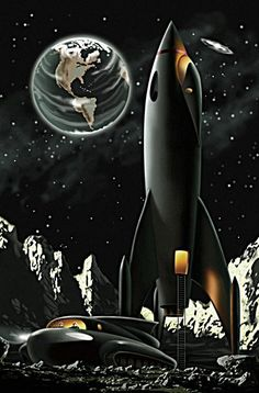 Landing party on the moon. Illustrator uncredited.