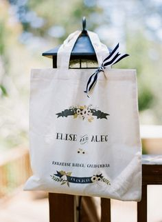 Wedding tote bag for guests or members of the wedding party