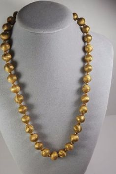 Vintage-Gold-Tone-Brushed-Metal-Ball-Bead-Necklace-from-50-60s