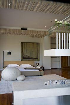 Modern Bedroom Design- love the bud vases, rocks and serenity