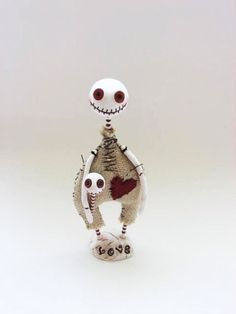 Halloween  Doll - Skeleton Doll - Button Eyed Doll - Made To Order by MyriamPowellDesigns on Etsy https://www.etsy.com/listing/100912952/halloween-doll-skeleton-doll-button-eyed