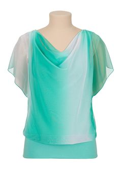Love this!! Banded bottom ombre chiffon top