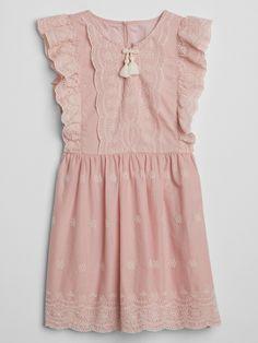 Eyelet Ruffle Tassel Dress|gap