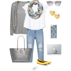 Like this breezy cardigan and simple white shirt.  I like the way the scarf looks. The yellow shoes are a nice touch.
