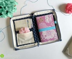 Zippered Book Clutch Organizer Navy Polkadot by BethanyCarinDesign - seriously so cute!