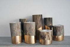 Advent DIY Day 12: Gold-Dipped Log Candleholders By Lifeovereasy on Etsy Diy Wedding Projects, Gold Dipped, Candle Holders, Candlesticks, Porta Velas, Candle Stand
