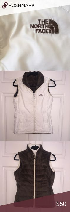 WMNS NORTH FACE REVERSIBLE VEST Women's North Face reversible vest in a soft white and brown. In great condition, only worn a few times. Fits a S/M depending on bust size North Face Jackets & Coats Vests