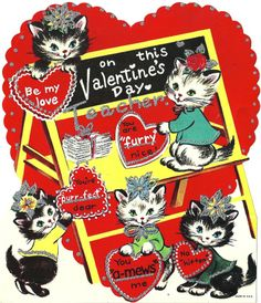Valentine cats for Teacher * 1500 free paper dolls at Arielle Gabriel's The International Paper Doll Society also at The China Adventure of Arielle Gabriel free paper dolls *