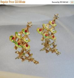 SALE Vintage Christmas Earrings. Christmas Trees. Red Clear Rhinestones. Holiday Earrings.