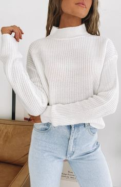 Secretly Knitted Sweater White #fallstyle #sweater #white