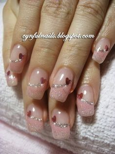 Romantic And Lovely Heart Nail Art Designs Ideas For Valentines Day - EcstasyCoffee Glitter French Tips, Glitter French Manicure, French Tip Nails, Gold Glitter Nails, Glitter Acrylics, Nail Art Saint-valentin, Heart Nail Art, Heart Nails, French Tip Nail Designs
