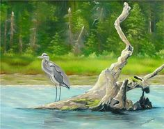 """""""Heron's Perch"""", © 2019 Brenda L. Kenney, Oil on Canvas, 14 x 28 Available Joy Of Life, Precious Moments, Heron, Oil On Canvas, Original Paintings, United States, The Unit, In This Moment, Fine Art"""