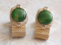 Green Gold Cufflinks Faux Jadeite Mesh Swank by cutterstone