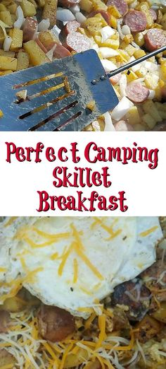 This Camping Griddle Breakfast Skillet is perfect to make while camping or even . This Camping Griddle Breakfast Skillet is perfect to make while camping or even at home! Easy to make with potatoes, eggs, onions, bacon, and cheese! Camping Dishes, Camping Meals, Camping Cooking, Vegetarian Camping, Kayak Camping, Camping Stuff, Camping Tips, Camping Breakfast Recipes, Camping Axe