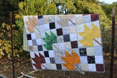 "This pattern combines 5"" charm squares and an easy quilt-as-you-go  technique to make a dramatic quilt that says ""Autumn"" as beautifully as a  crisp fall day. Pattern tells  how much fabric you will need and shows you exactly how to use the  quilt-as-you-go technique. Skill level: beginner. Quilting For Beginners, Quilting Tips, Rag Quilt, Quilt Blocks, Nine Patch Quilt, Quilt As You Go, Easy Quilts, Scrappy Quilts, Felting Tutorials"