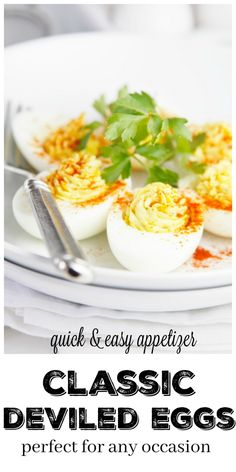 Classic Deviled Eggs - bell' alimento Best Appetizer Recipes, Gluten Free Appetizers, Quick And Easy Appetizers, Dinner Recipes Easy Quick, Appetizers For Party, Side Dish Recipes, Side Dishes, Dip Recipes, Easy Snacks
