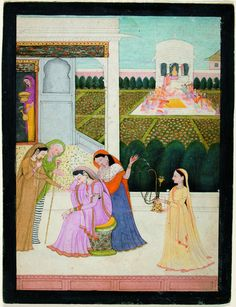 A lady disconsolate, while the others play Holi - Series Title: Connoisseur's Delight, Rasikapriya, ca. 1790 Edwin Binney 3rd Collection The San Diego Museum of Art
