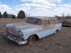 1956 Chevy Nomad Maintenance/restoration of old/vintage vehicles: the material… Abandoned Train, Abandoned Cars, Abandoned Vehicles, Vintage Cars, Antique Cars, Junkyard Cars, Chevy Nomad, Car Barn, Rusty Cars