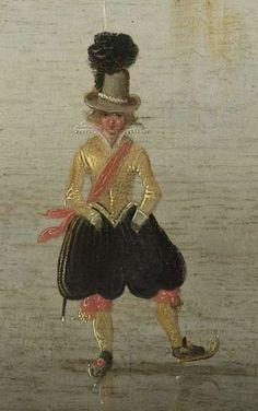 Detail : Schaatsenrijden in een dorp.   Hendrick Avercamp, ca. 1610. Collectie Rijksmuseum Amsterdam. Pin T. Hiem.: Голландия. Dutch, 1585-1634 (Dutch Golden Age)