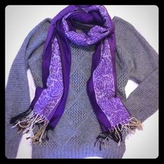 Shades of purple long Pashmina scarf with fringe! Beautiful long Pashmina scarf, with different shades of purple! Long and rectangular, with fringe on either end. Elegant paisley print on the scarf too. Only worn a few times. Excellent condition! Could be used as a scarf or a wrap, and can be tied many different ways. Pashmina Accessories Scarves & Wraps