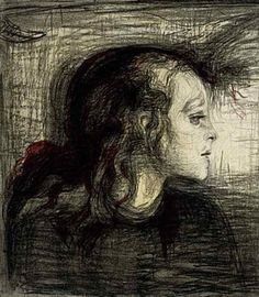 MUNCH Edvard Munch: Norwegian (Løten (Hedmark) 1863 -1944 Ekely (Oslo)) - The Sick Girl, 1896, Colour lithograph on paper, 44,5 x 56,7 cm (National Gallery of Scotland, Edinburgh)