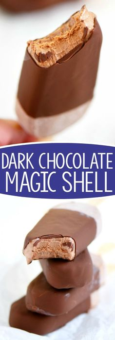 Two ingredient Dark Chocolate Magic Shell! Now you can add a rich, chocolate coating to any frozen dessert! Made with coconut oil and dark chocolate for a healthy, sweet chocolate coating for all your favorite summer treats!