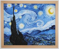 Vincent van Gogh. The Starry Night. Replica painting with wooden frame