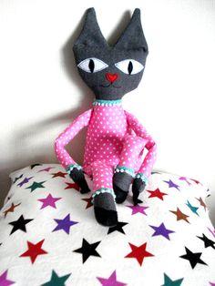 Pink kitten Cat Plushie Plush Handmade Polka dot by cronopia6