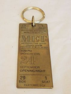 [30%-OFF!] $16.0 Met Metropolitan Opera Lincoln Center 1979 Brass Ticket Keychain Opening Night #Theater_Posters_for_Sale #Movie_Posters_for_Sale #Theatre_Memorabilia_for_Sale Movie Posters For Sale, Sale Poster, 24 September, Metropolitan Opera, Lincoln Center, Opening Night, Ticket, Theater, Brass
