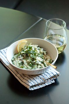 lemon risotto with spring onions & greens — passports & pancakes