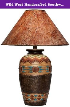 Wild West Handcrafted Southwest Table Lamp. Alluring and full of natural beauty, this tribal-print table lamp effortlessly illustrates American Southwest style. Light Western finishes decorate the ornately detailed base, and a faux hide shade rests up top in a complementing paprika hue. Rotary switch for easy operation. Inspired by Southwestern and Western style decor. Handcrafted and made in the U.S.A. - Southwest table lamp. - Hydrocal construction. - Light Western colors. - Faux hide...