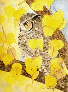 'Great Horned Owl / Autumn' by Nancy Overholtz Great Horned Owl, Yellow Leaves, Owl Art, Artsy, Creatures, Bird, Owls, Painting, Animals