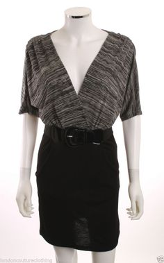 Closet Essentials: The Little Black Dress:  DELIRIOUS LOS ANGELES WRAP FRONT FAUX BELT CHARCOAL TOP BLACK SKIRT DRESS SZ M