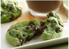 Green Chocolate Chip Cookies....I'm thinking of making these & calling them 'Hulk Chip Cookies' for my little one's superhero party!