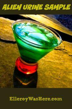 Alien Urine Sample: Ingredients for a Fabulous Cocktail  Peach Schnapps, Midori Melon Liqueur, Coconut Rum via @elleroy