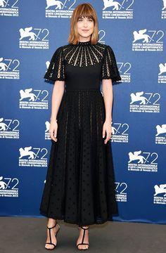 WHO: Dakota Johnson  WHAT: Black Mass photocall  WEAR: Valentino dress from the Resort 16 collection; Jimmy Choo sandals.