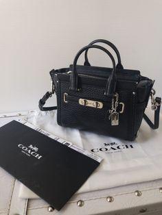 0e45548039d8 COACH Swagger 15 Crossbody Mini Bag Pebble Leather Smallest Black NEW 54625  | eBay Mini Crossbody