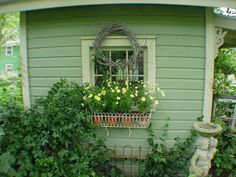 Ideas Garden Cottage Shed Flower Boxes Outdoor Sheds, Outdoor Spaces, Outdoor Gardens, Outdoor Decor, Backyard Sheds, Love Garden, Lawn And Garden, Glass Garden, Cottage Garden Sheds