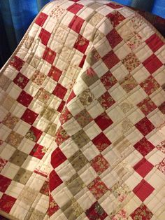 Postage Stamp Quilt ~ Red & Khaki