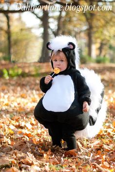 This year I decided that my youngest child had to be a skunk. There is something about his little upturned nose that made me think that . Baby Girl Halloween, Baby Halloween Costumes, Halloween Costumes For Kids, Halloween Patterns, Homemade Halloween, Halloween 2018, Halloween Crafts, Cute Baby Girl Costumes, Animals