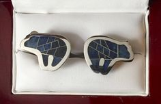 Vintage Rare Sterling Silver and Mosaic Lapis Bear Cufflinks by CremedelaCuff on Etsy